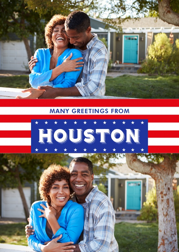 Houston greetings in US Flag design