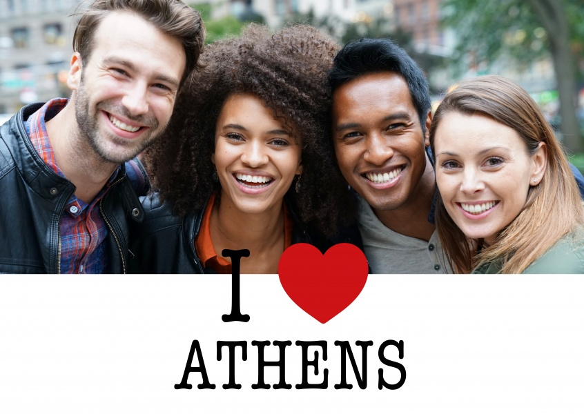 I love Athens Postcard