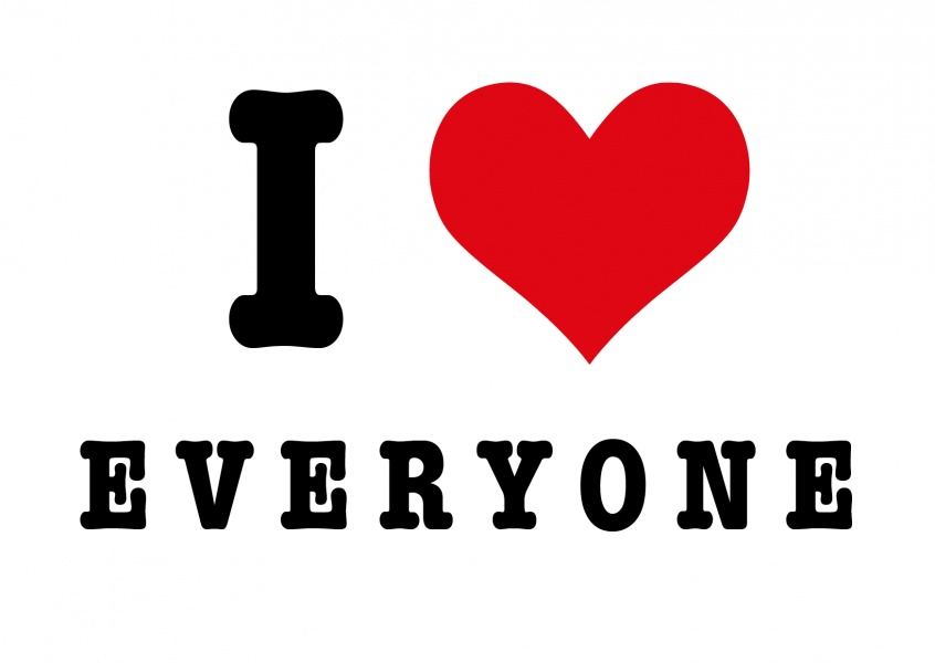 i love everyone letters with heart postcard