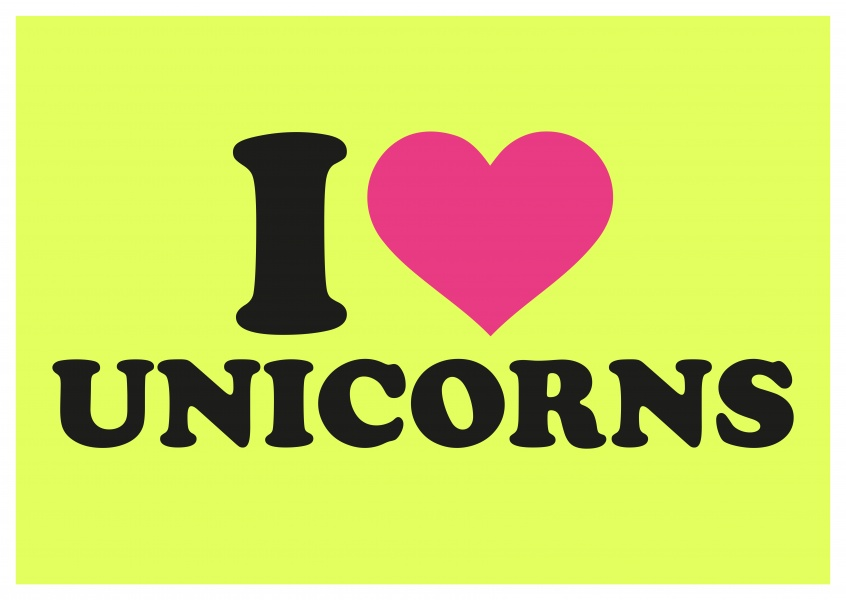 I love unicorns-quote with heart on neon yellow background