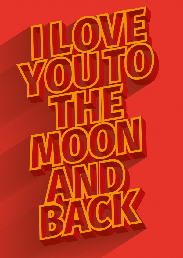 i love you to the moon and back rote postkarte spruch