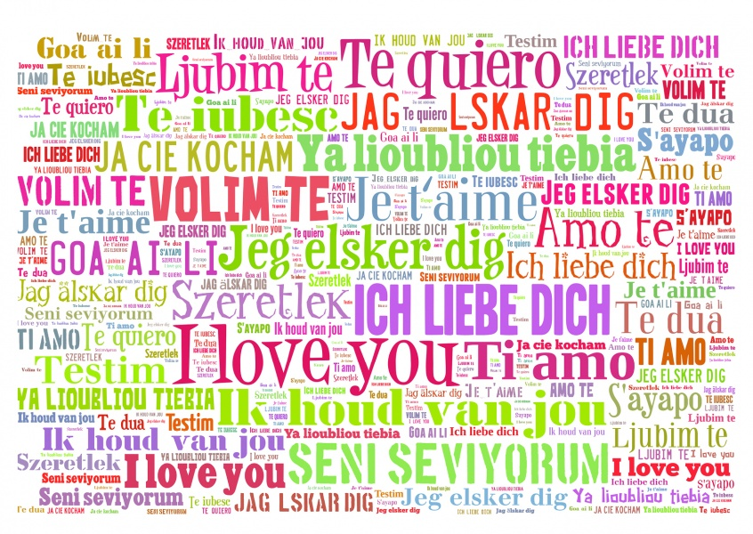 diffrent languages i love you quote postcard colorful