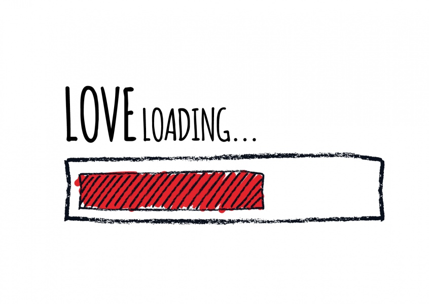 illustration love loading postkarte