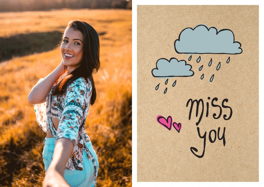 I miss you handwritten on cardboard with rainy clouds–mypostcard