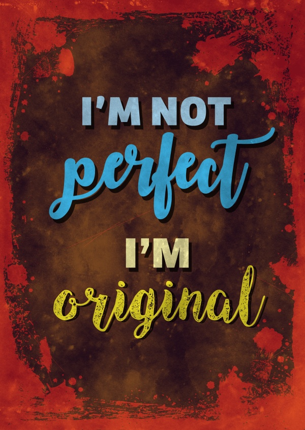 Vintage Spruch Postkarte: I`m not perfect i`m original