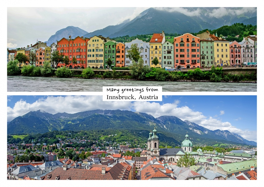 Innsbruck-Panorama collage showing traditional houses at the Inn river and birds eye view of the city–mypostcard