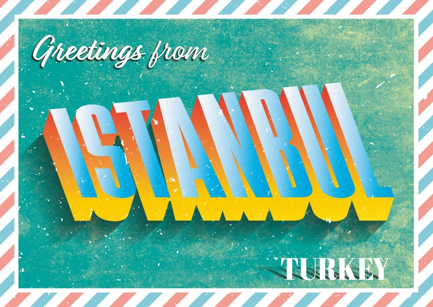 Istanbul -Retro Style | Vacation Cards & Quotes | Send real postcards online