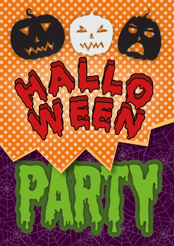 Halloween Party Invitation with pumpkins and spider web