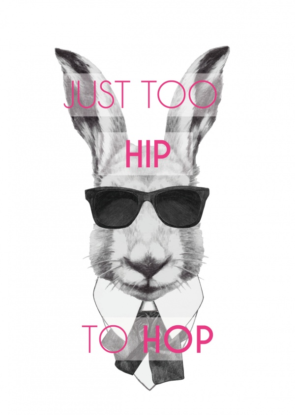 Hipster Easter bunny with sunglasses being too hip to hop