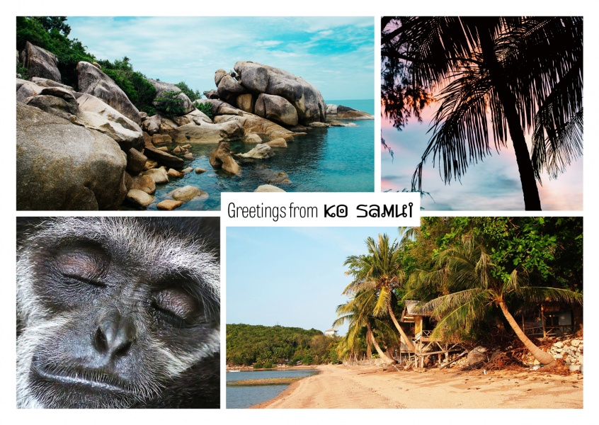 photocollage Ko Samui rocks, monkey, beach