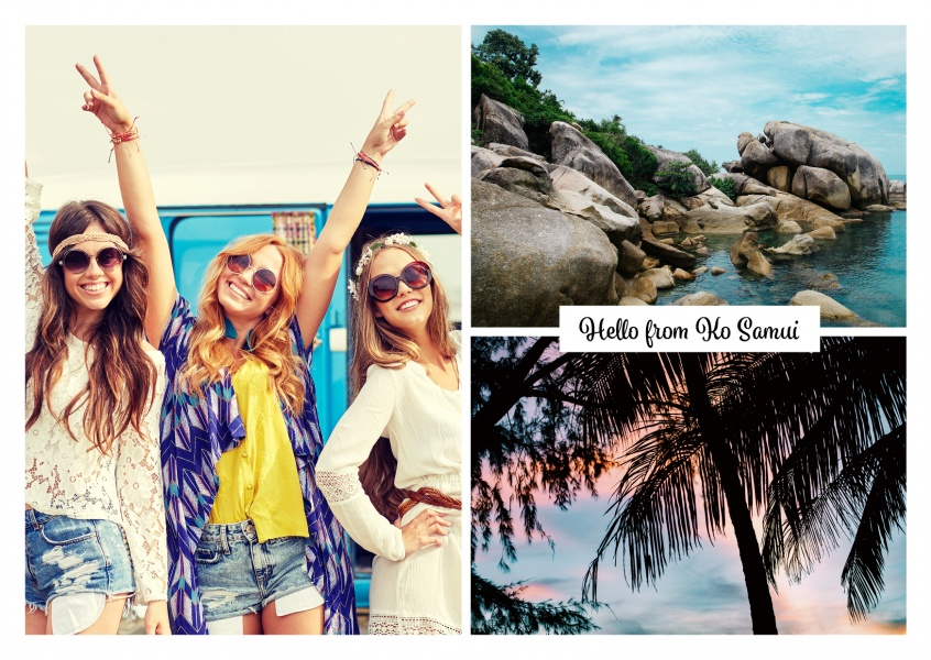 photocollage Ko Samui rocks and palm trees