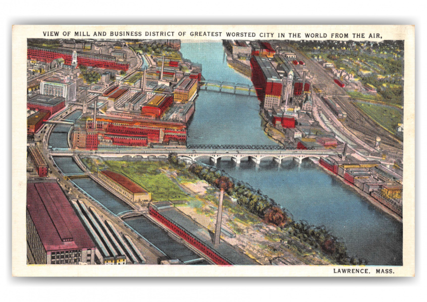 Lawrence, Massachusetts, aerial view of town
