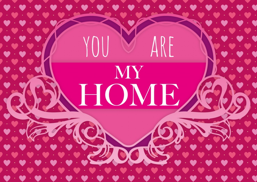 you are my home spruch auf postkarte pink herzen