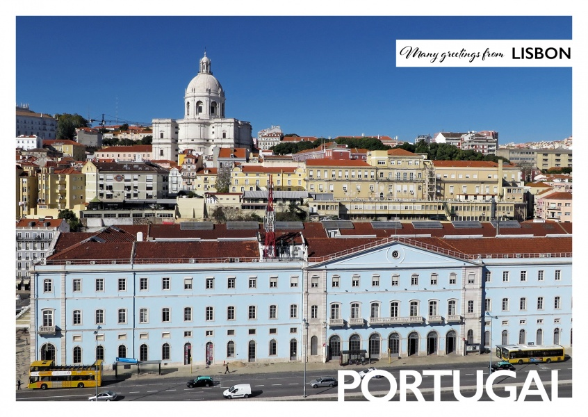 Postcard with photo of Lisbon and Santa Engracia