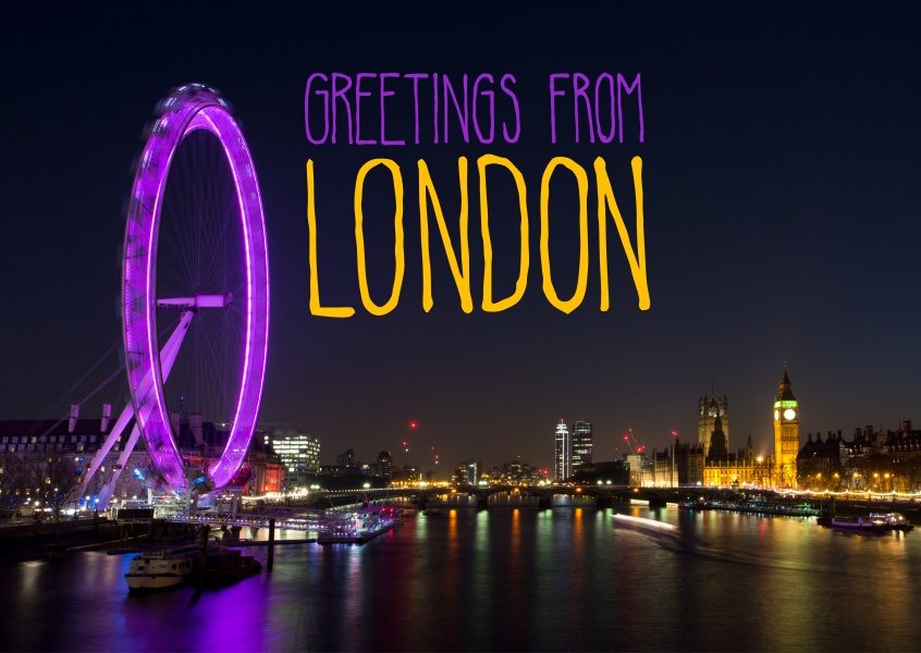 greetingcard with a photo of London at night