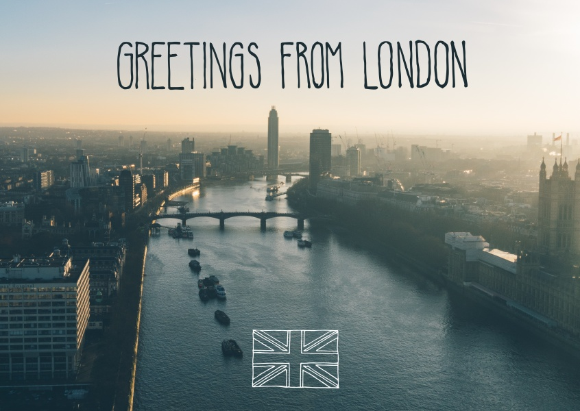greetingcard with a picture of London and river themse