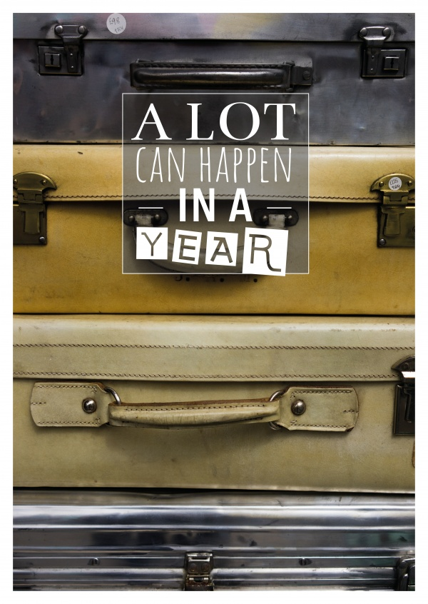 Foto Koffer a lot can happen in a year Spruch