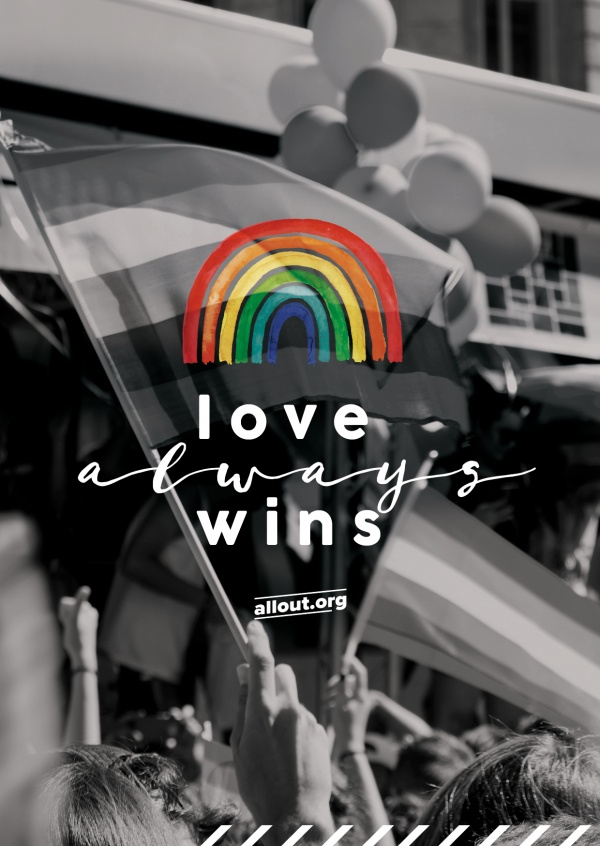 postkarte ALL OUT love always wins