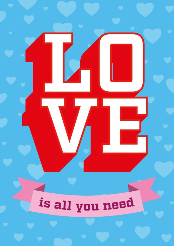 love is all you need vintage postcard