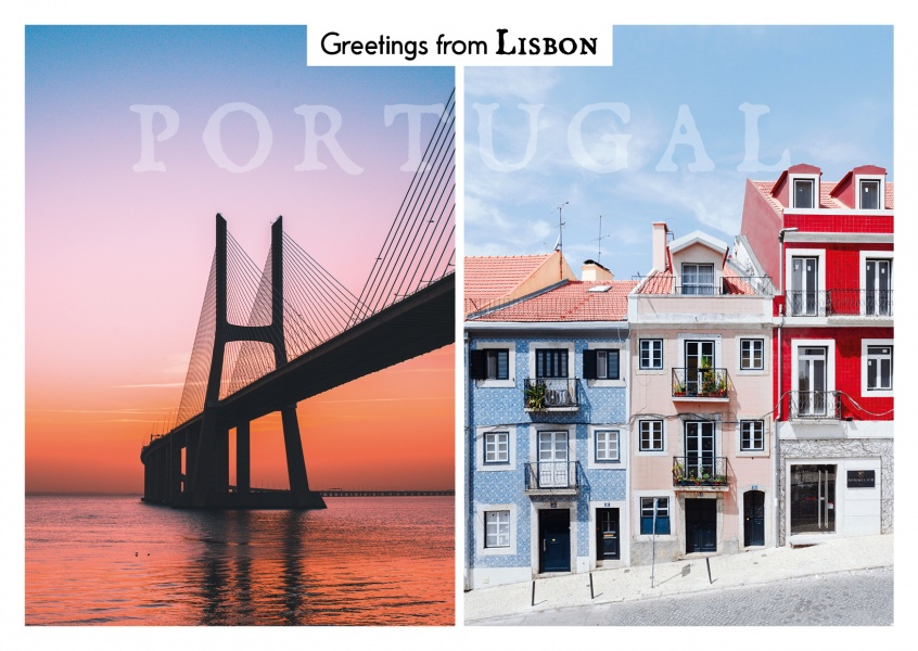 photocllage of Lisbon V. da gama bridge and old town