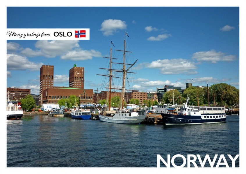 Photo of Oslo's city hall next to ships in the harbour–mypostcard