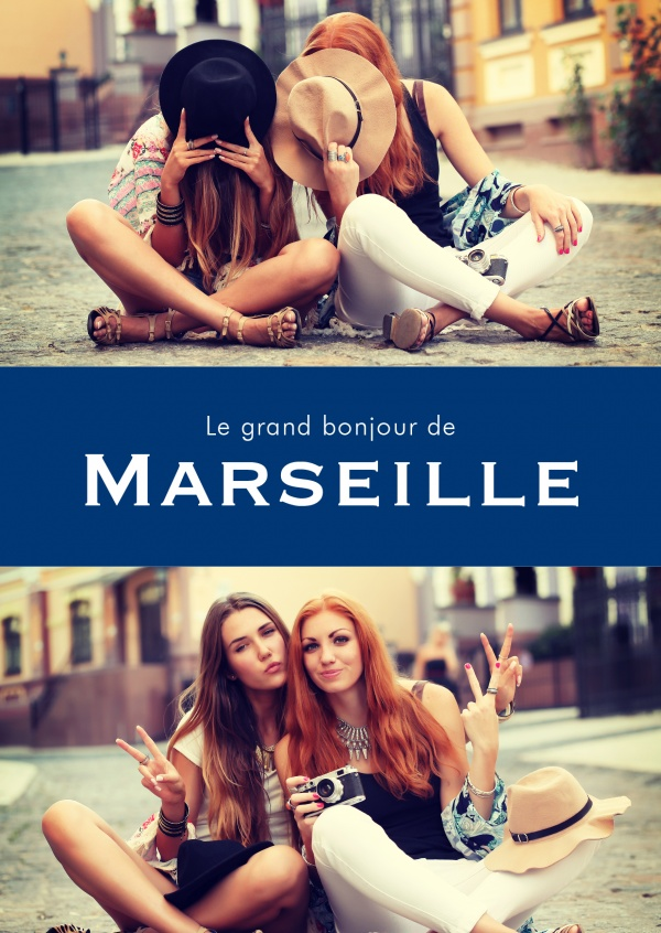 Marseille greetings in French language blue white