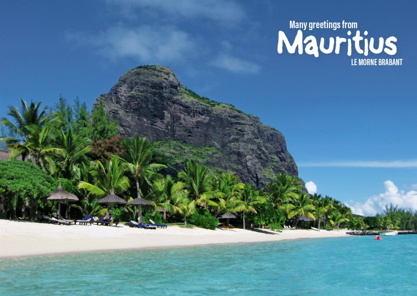 Postcard Mauritius with photo of Le Morne Brabant