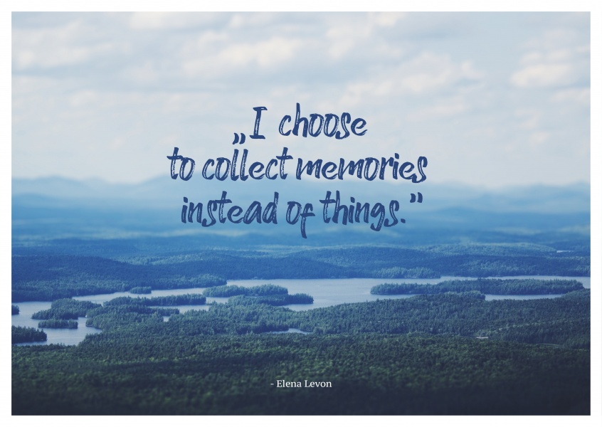 postcard saying memories not things