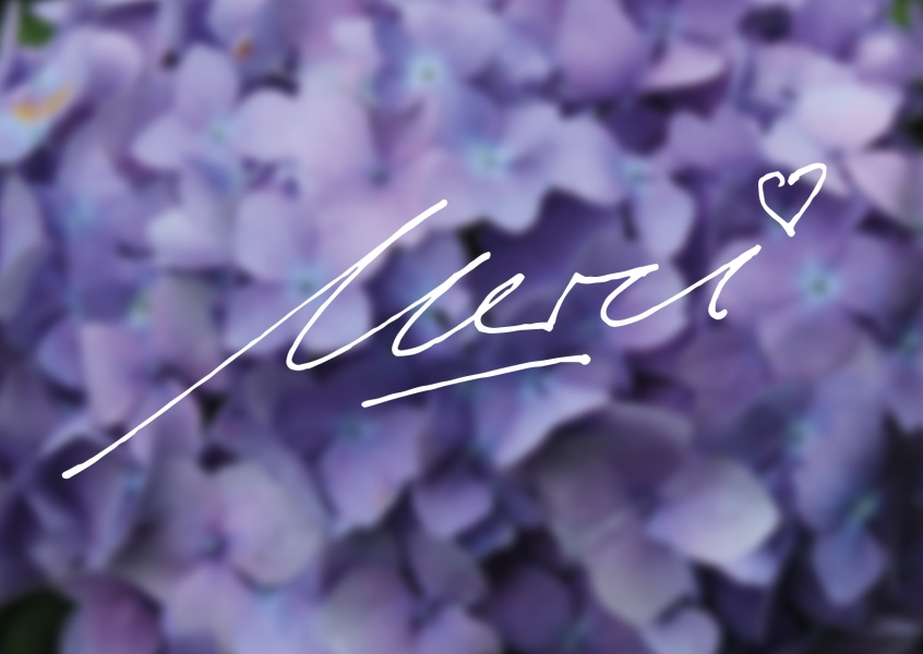 handwritten merci with heart and violett purple flowers
