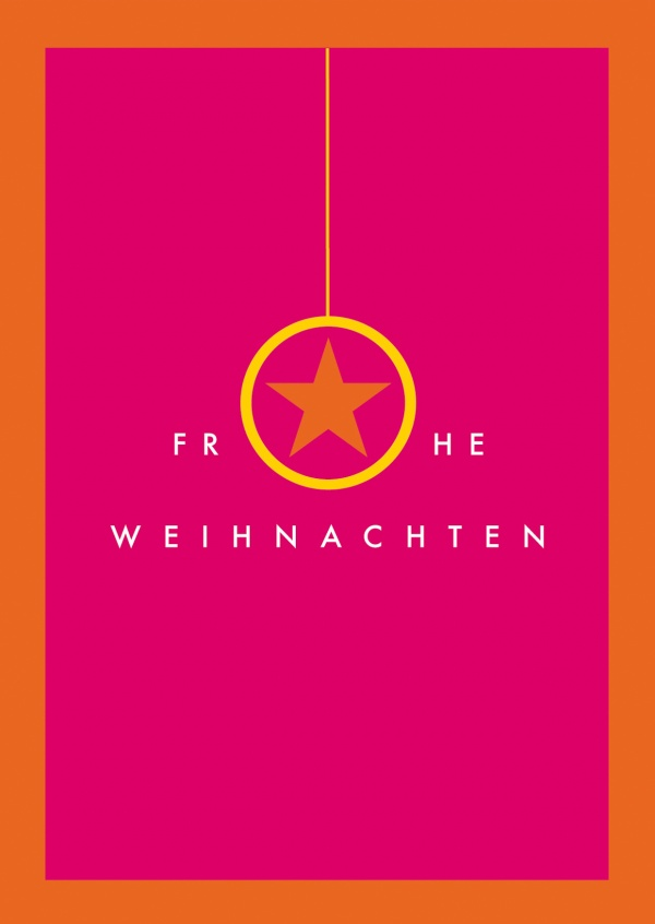 Frohe Weihnachten rot orange Meridian Design