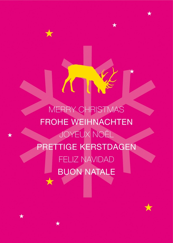 Xmas various languages with reindeer pink