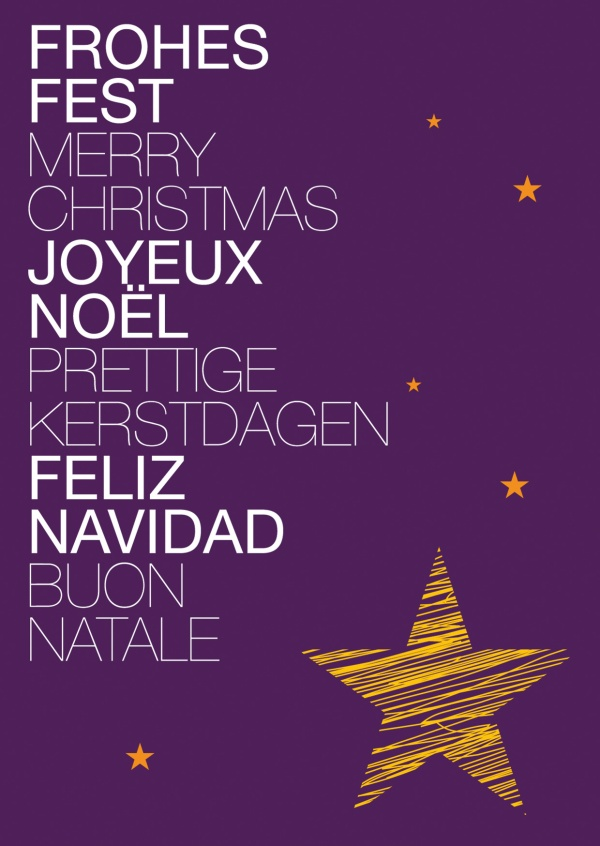 Xmas various languages with star