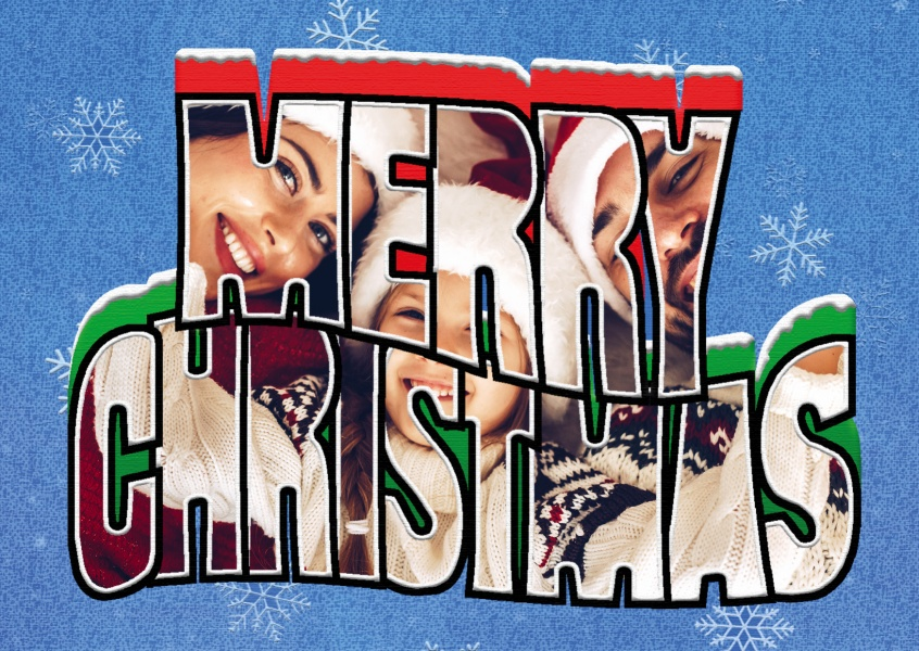 Grote Letter Ansichtkaart Site Merry Christmas Design
