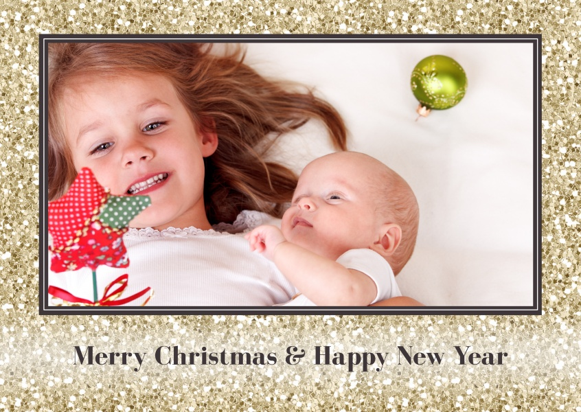 Merry Christmas & Happy New Year with gold glitter frame