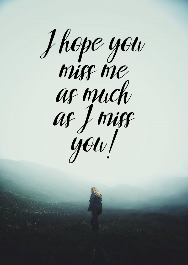 miss you quote postcard