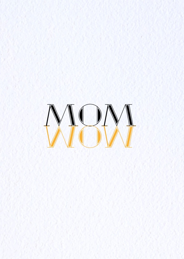 Card with mom-wow-writing on it