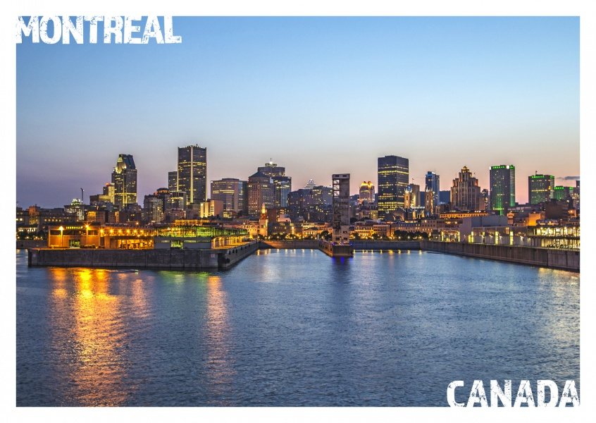Photo of Montreal's Sykline by night–mypostcard