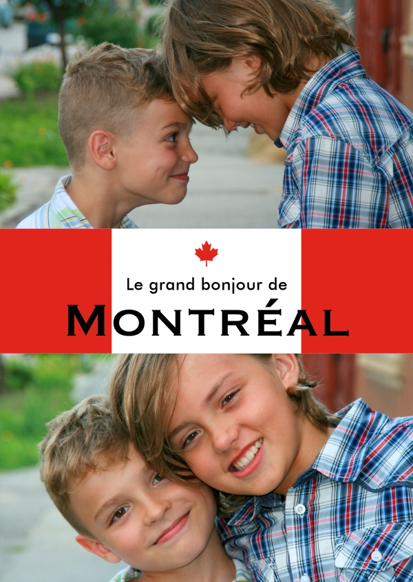 Montreal greetings in French language red white