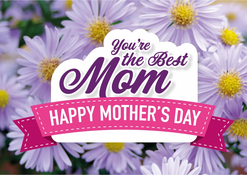 You're the best mom- Happy Mother's Day greeting card with flowers and pink banner–mypostcard