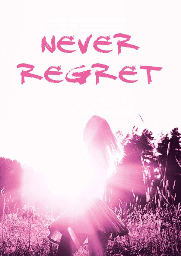 quote postcard never regret