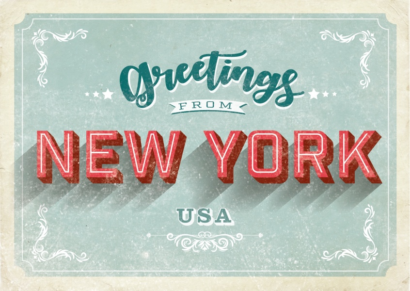new york vintage letters postcard
