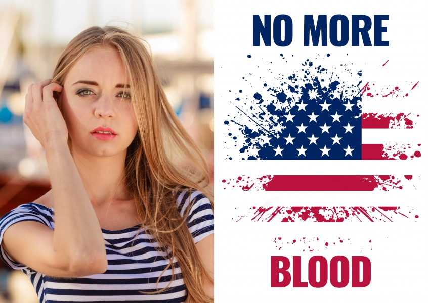No more blood card with USA flag