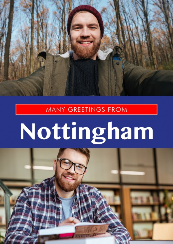 Nottinghaml in Union Jack-style colours and font