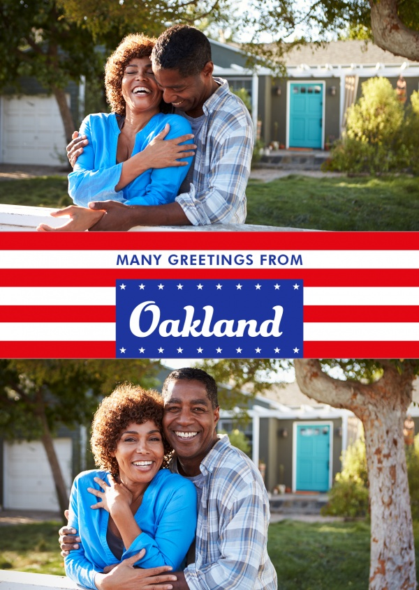 Oakland greetings in US Flag design
