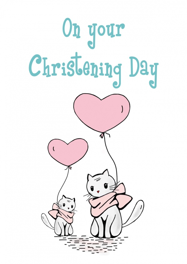 illustration two cure cats with heart-shaped balloons