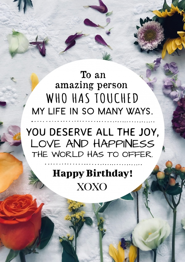 Spruch Happy Birthday to an amazing person