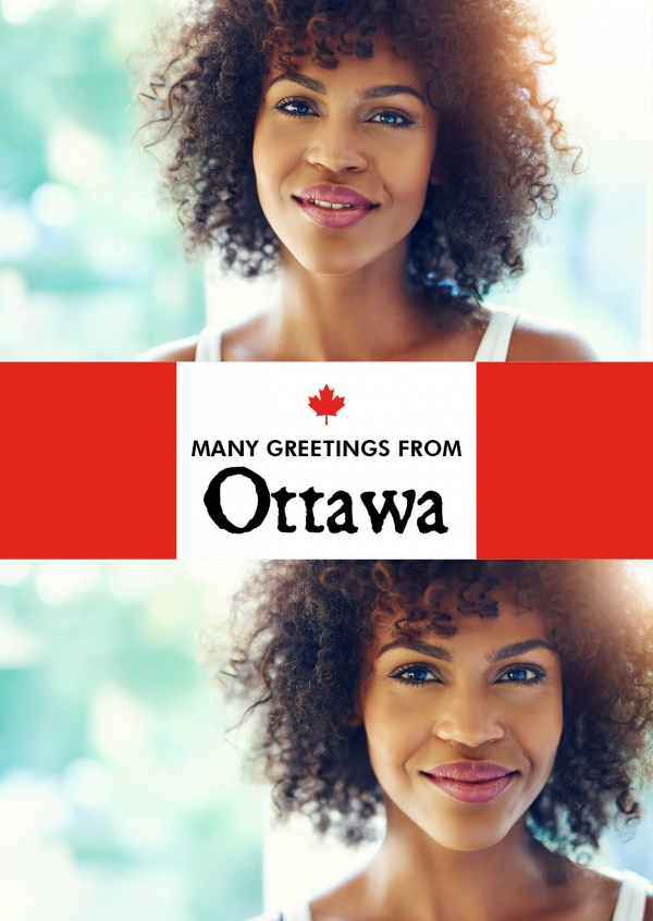 Ottawa greetings red white with maple leaf
