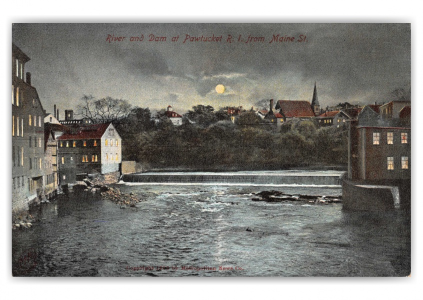 Pawtucket, Rhode Island, River and Dam at night