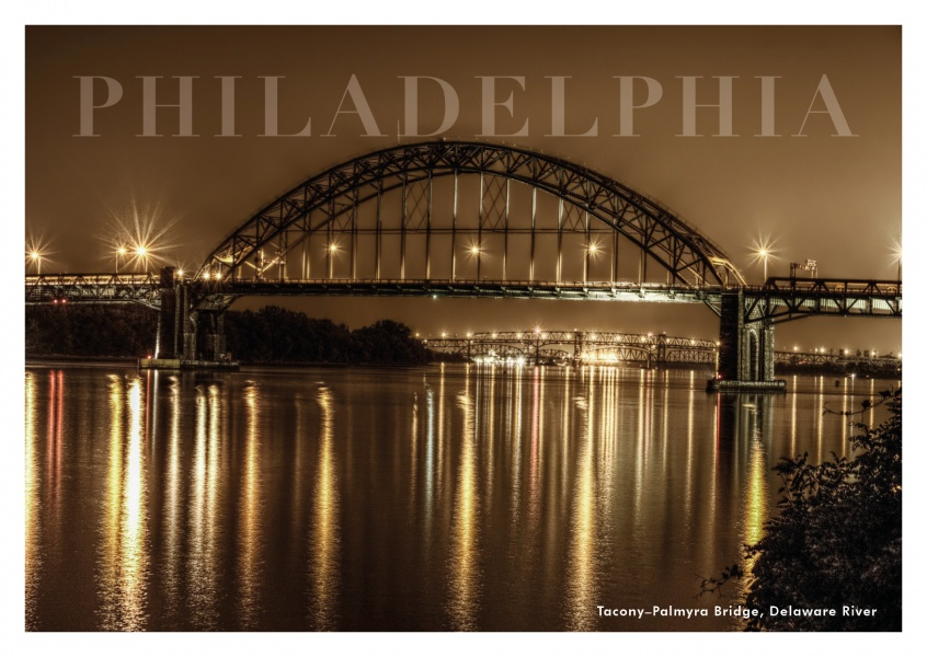 Philadelphia bridge by night