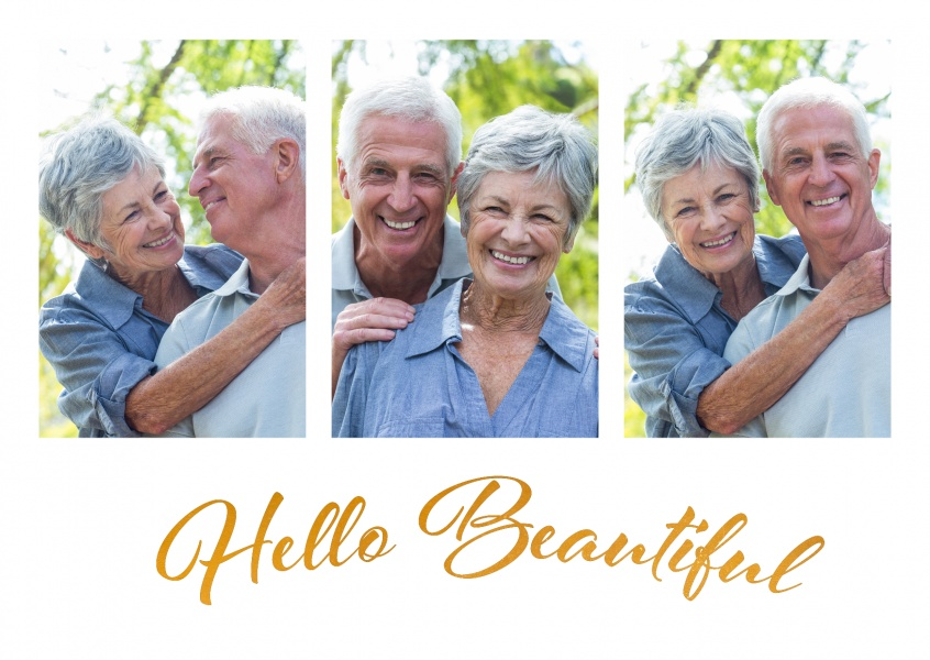hello beautiful in golden artistic handwriting in white frame